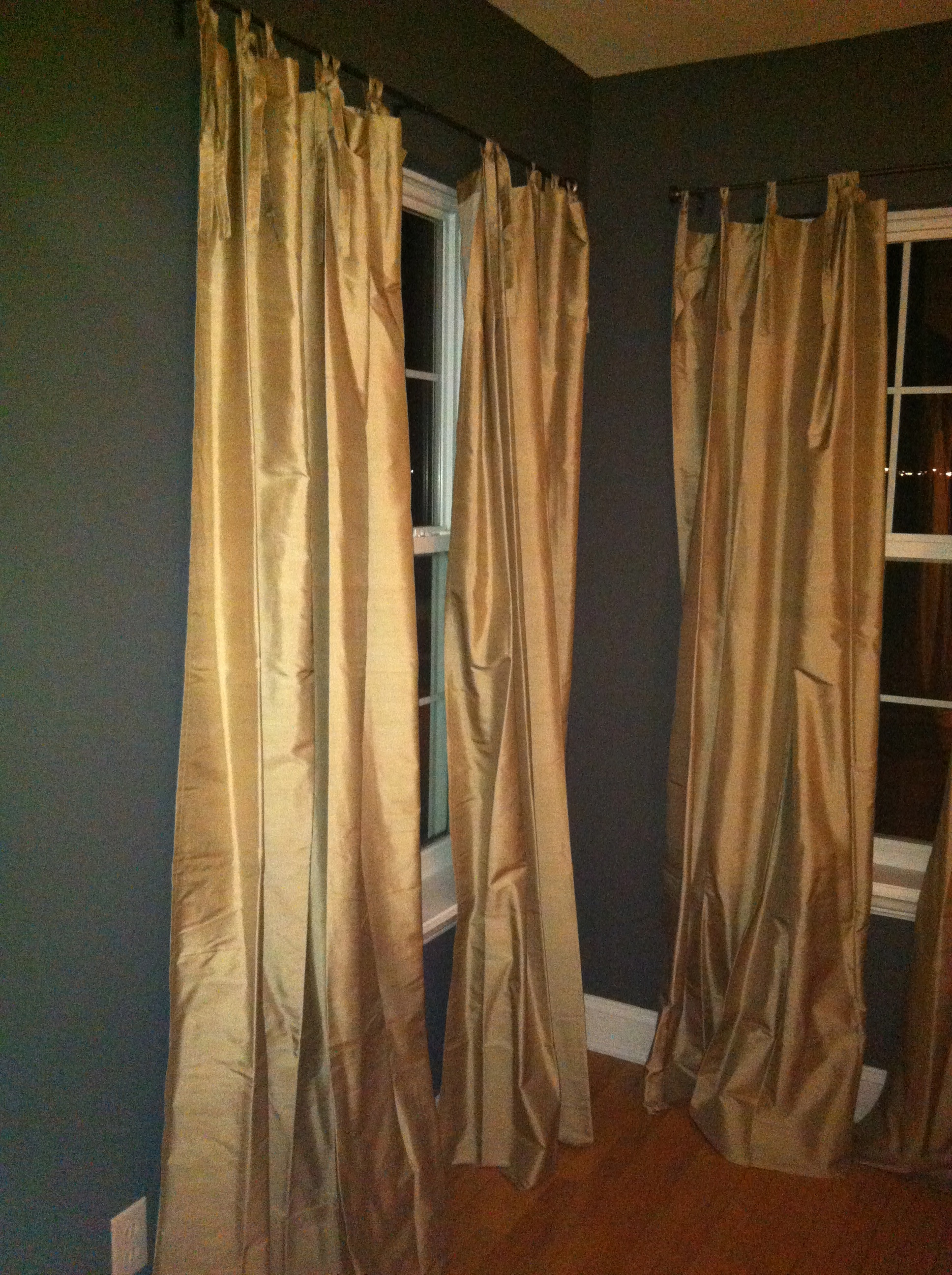 Pottery barn silk curtains -  Pottery Barn Silk Tie Drapes Also Rob Built A Desk Vanity For The Guest Bedroom I M Excited To Get A Chair Baskets For The Cubby Holes